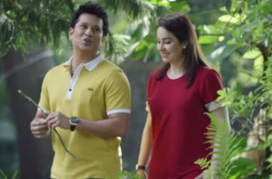 Sachin Tendulkar and wife Anjali in a still from Sachin: A Billion Dreams.