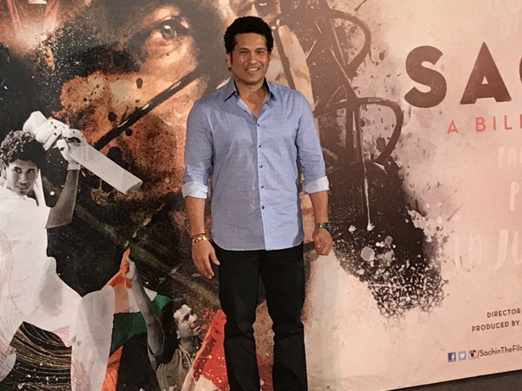 Sachin Tendulkar at the trailer launch in Mumbai (PIC Twitter)