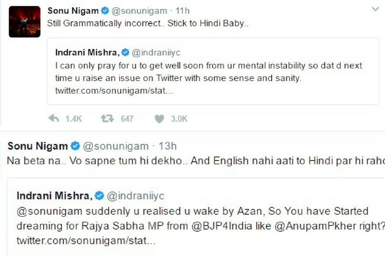 Sonu Nigam tweets, Twitter photo for InUth