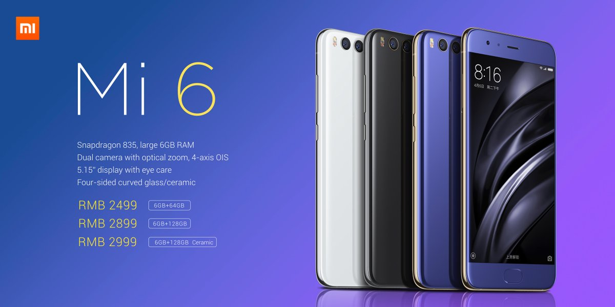 Xiaomi Unveils Mi6 With Dual Camera Snapdragon 835