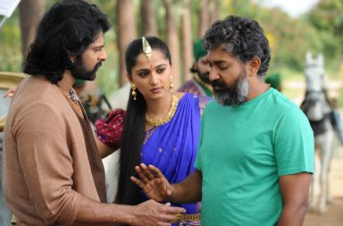 A picture from behind the scenes of Baahubali