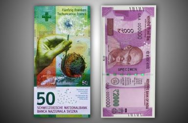 The 50 franc and Rs 2000 currency note of Switzerland and India
