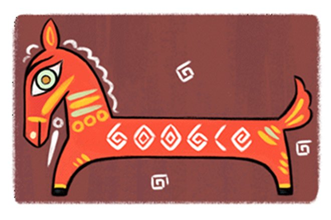 Google Doodle on April 11, 2017, inspired by Padma Bhushan artist Jamini Roy's black horse