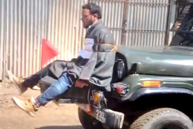 Video of Kashmiri youth tied to Indian forces army jeep goes viral