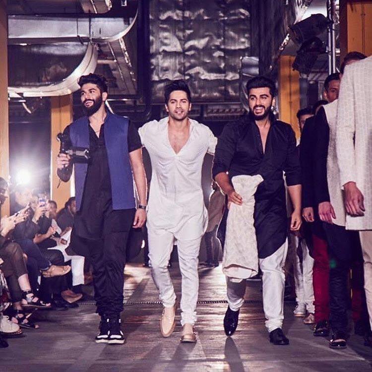 Arjun Kapoor and Varun Dhawan at Lakme Fashion Week 2017 event