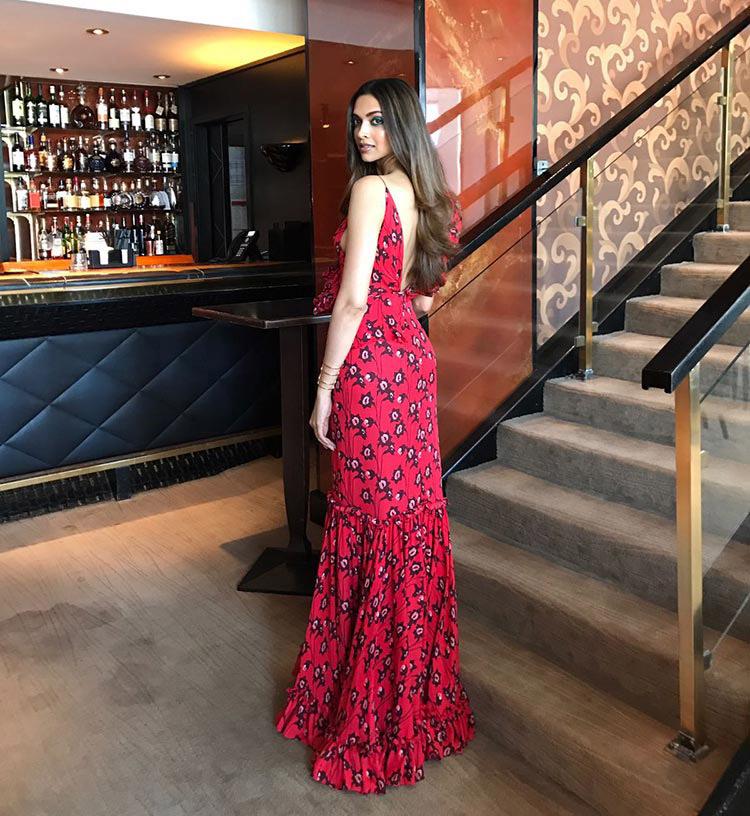 Deepika Padukone in fiery red at Cannes 2017