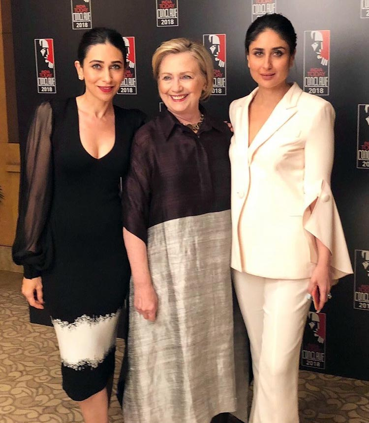 Kareena and Karisma Kapoor with Hillary Clinton