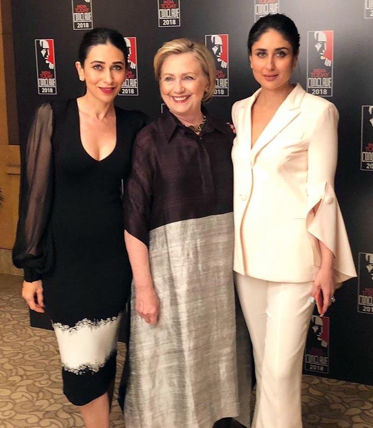 Kareena and Karisma Kapoor with Hillary Clinton