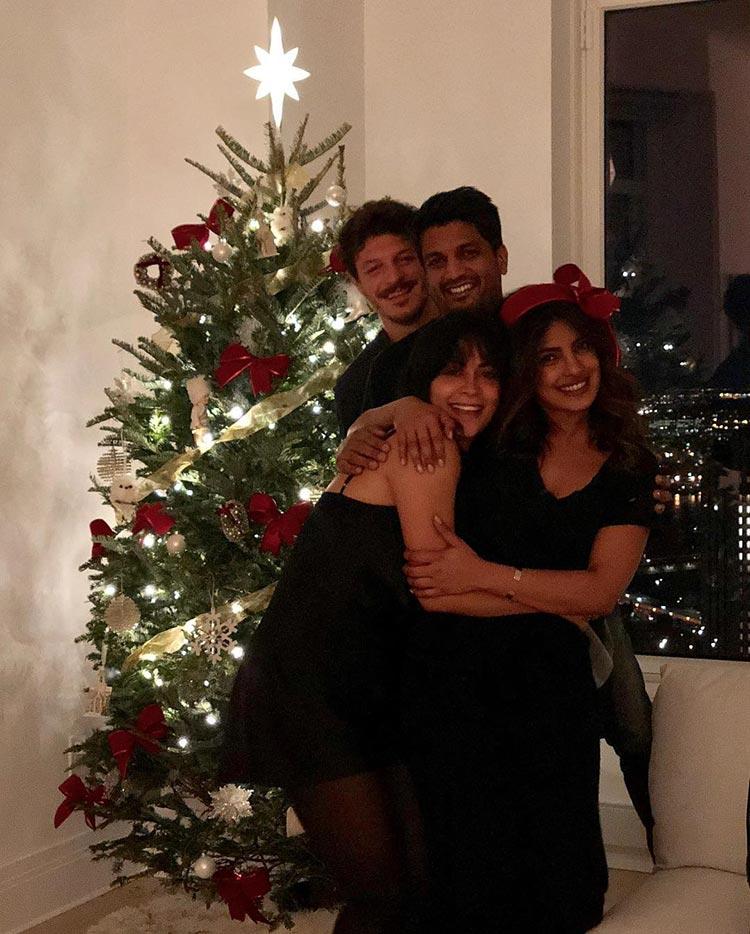 Priyanka Chopra with her friends and the Christmas tree