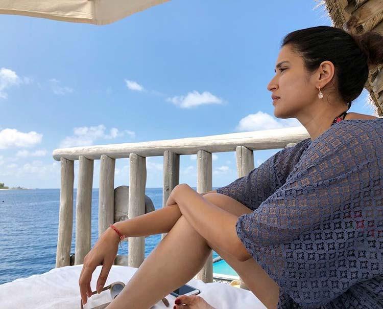 Sagarika Ghatge enjoying the sea breeze