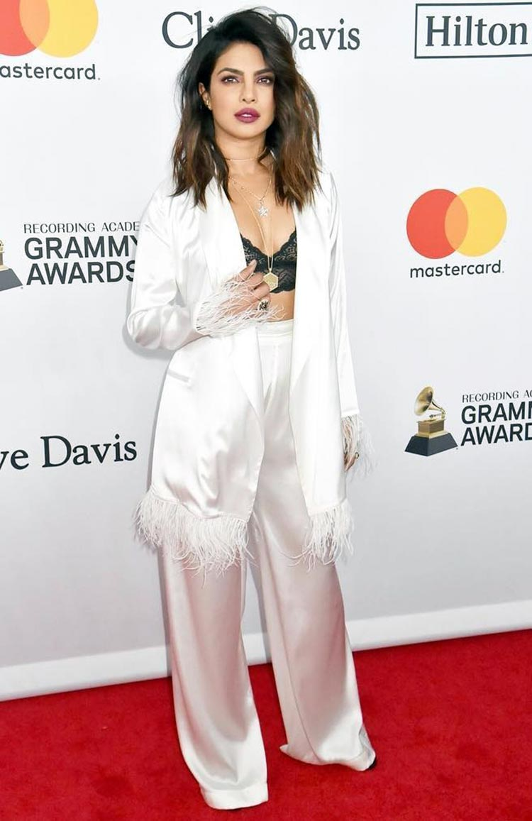 Sexy Priyanka Chopra at a Pre-Grammy Gala on January 27, 2018