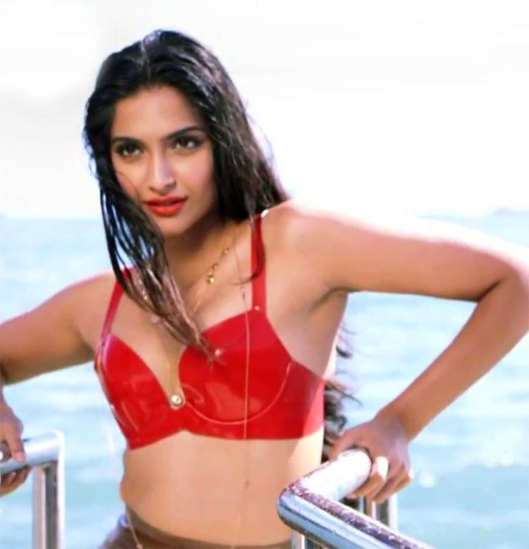 Sonam Kapoor looks spicy hot in her sultry red bikini