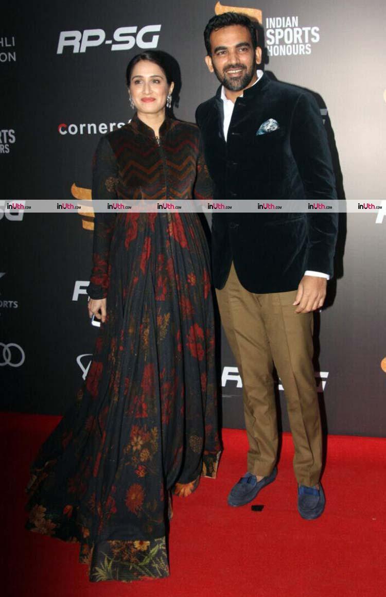Zaheer Khan and Sagarika Ghatge on the Indian Sports Honours 2017 red carpet