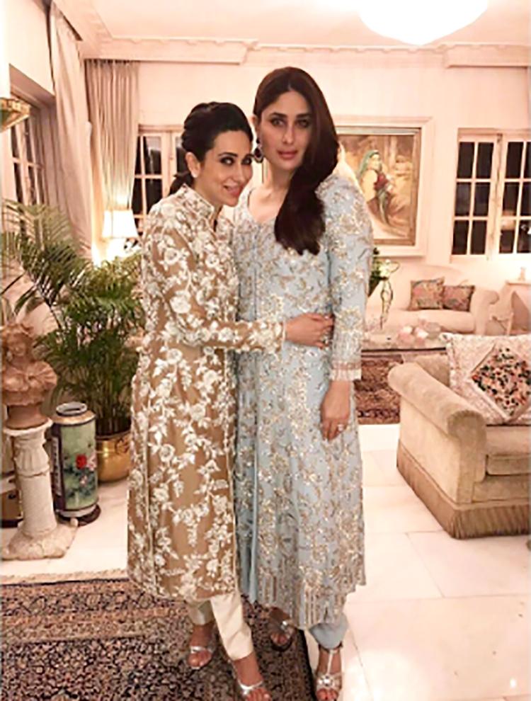 Kareena Kapoor and Karishma Kapoor at Randhir Kapoor's birthday party