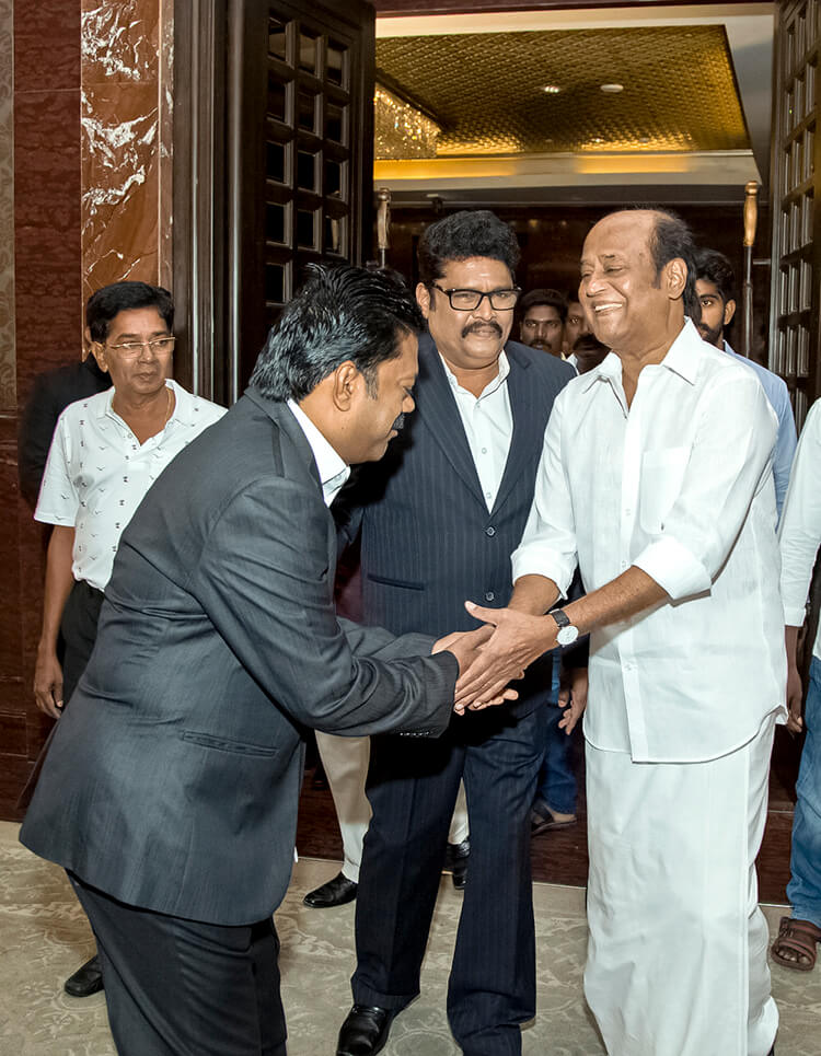 Rajinikanth at the wedding party of director KS Ravikumar's daughter