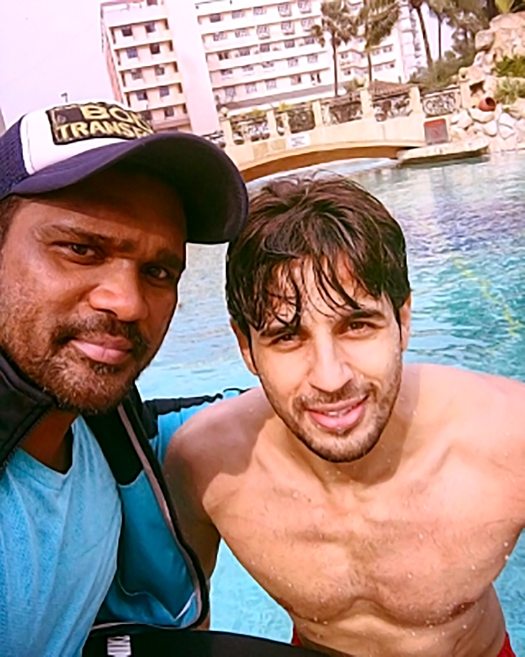 Sidharth Malhotra with his personal fitness trainer