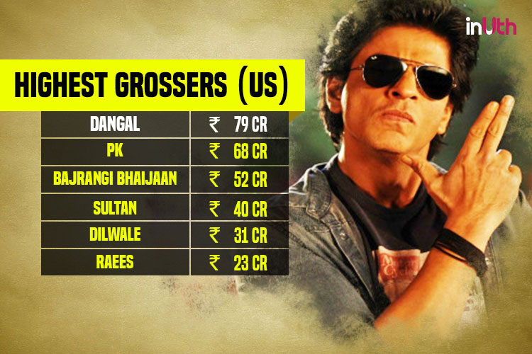 Shah Rukh Khan, Highest grossing Bollywood films in US