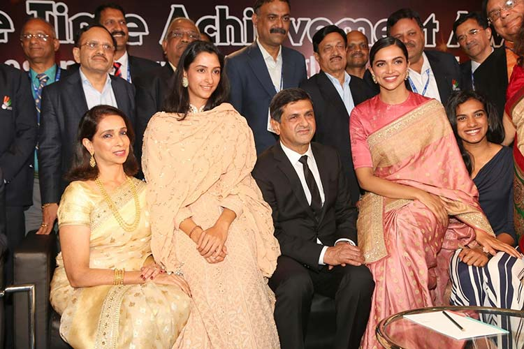 Deepika Padukone with her family at Badminton Association of India award ceremony