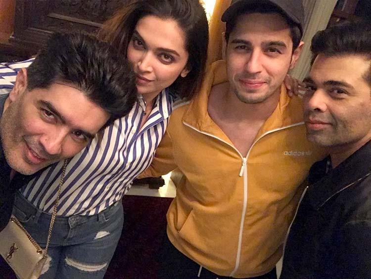 Deepika Padukone's selfie session with Karan, Manish, and Sidharth