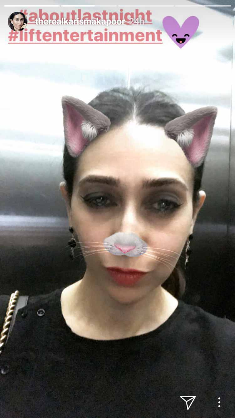Karisma Kapoor tries on the rabbit filter for her pic
