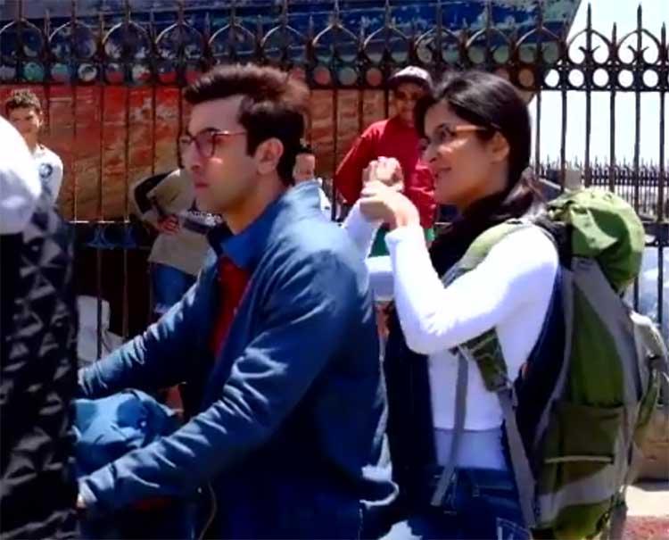 Katrina Kaif and Ranbir Kapoor on Jagga Jasoos sets