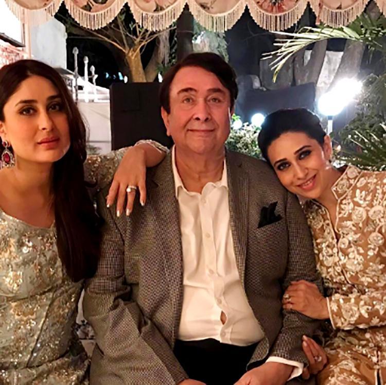 Kareena Kapoor and Karishma Kapoor with Randhir Kapoor at his birthday party