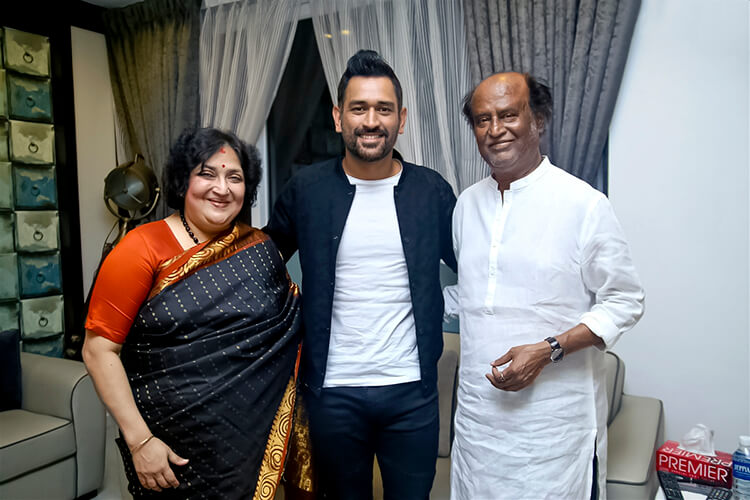 M.S. Dhoni meets Rajinikanth after attending a promotional event in Chennai