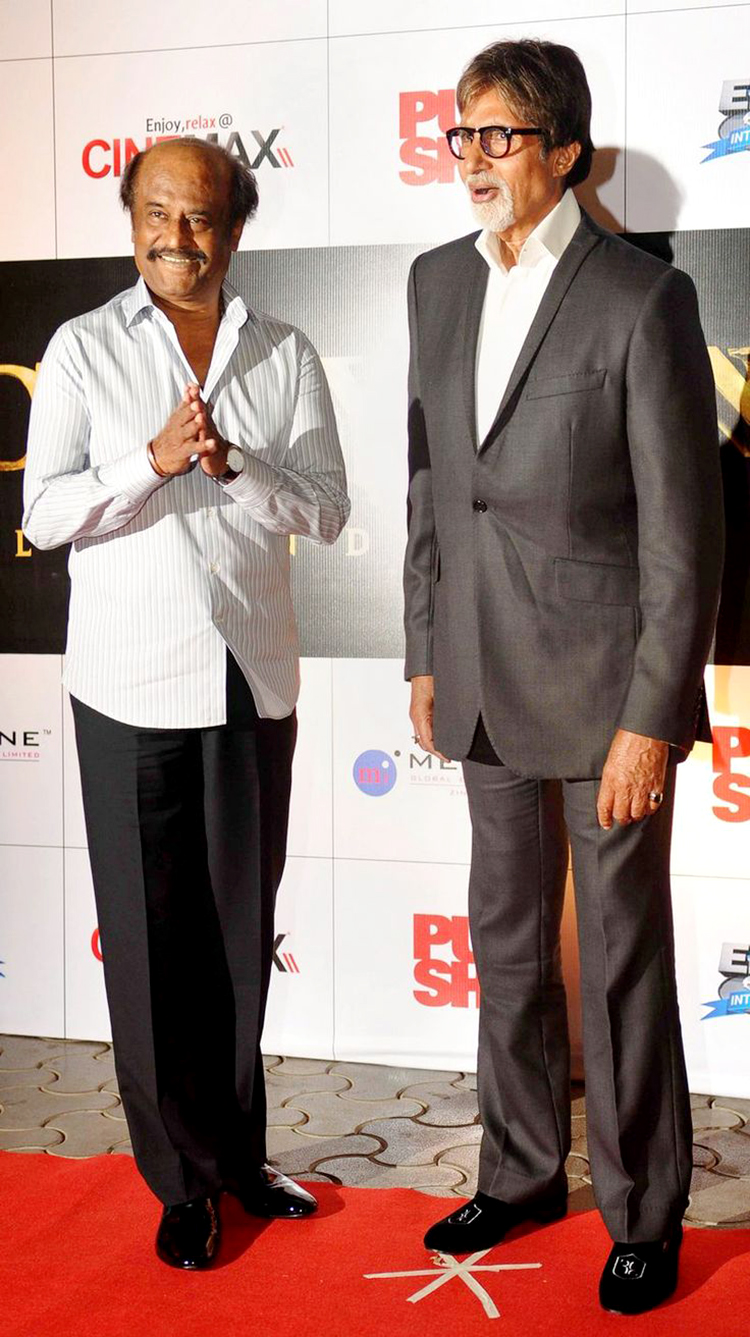 Rajinikanth with Amitabh Bachchan in candid photo