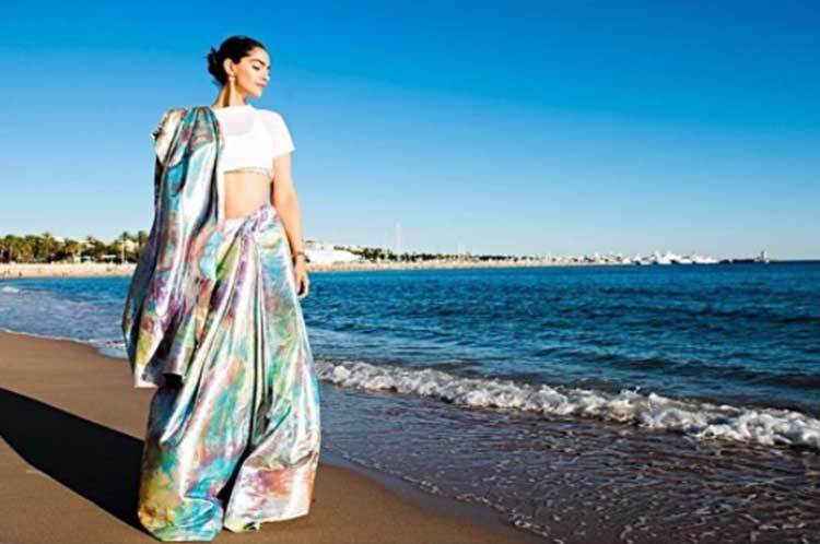 Sonam Kapoor posing by French Rivera at Cannes