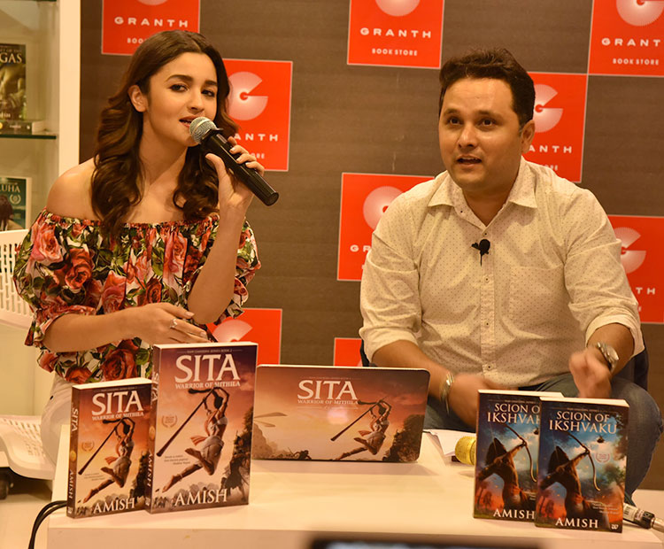 Alia Bhatt and Amish Tripathi at the trailer launch of Sita: Warrior of Mithila