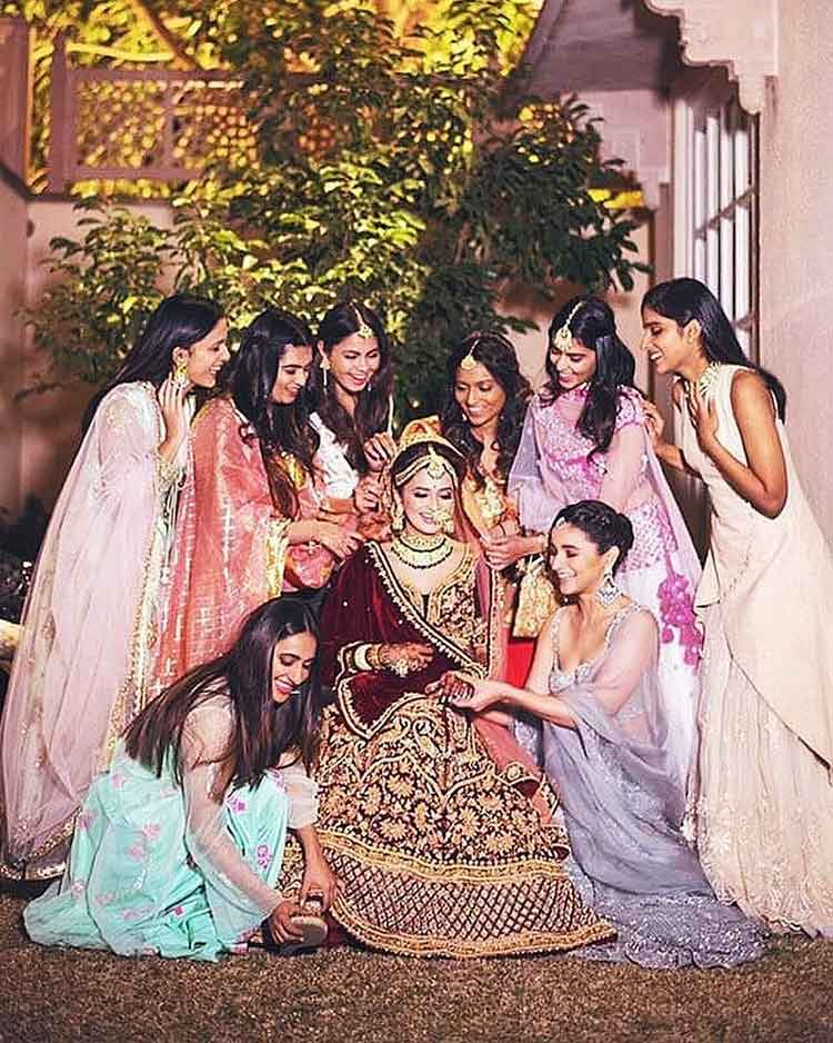 Alia Bhatt and friends with Kripa Mehta on her wedding night