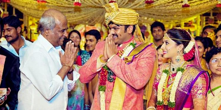 Rajinikanth caught candid at actor Manoj Manchu's wedding