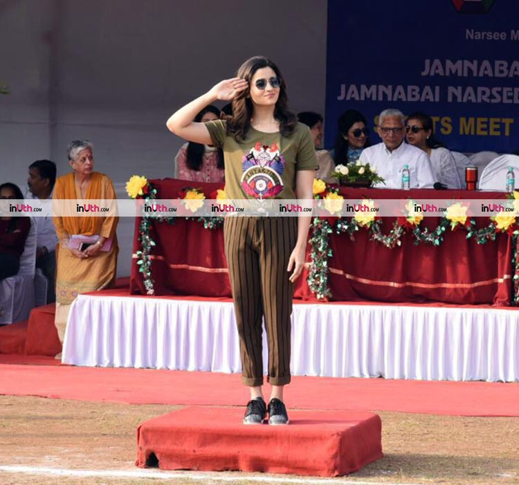 Alia Bhatt taking the salute at Jamnabai Narsee School parade