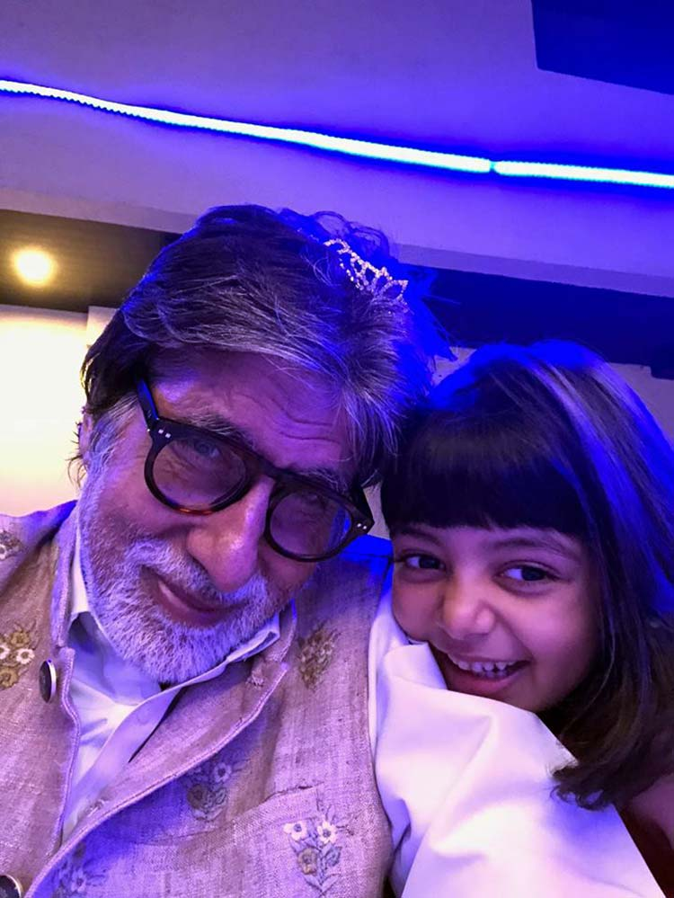 Amitabh Bachchan and Aaradhya ringing in the new year