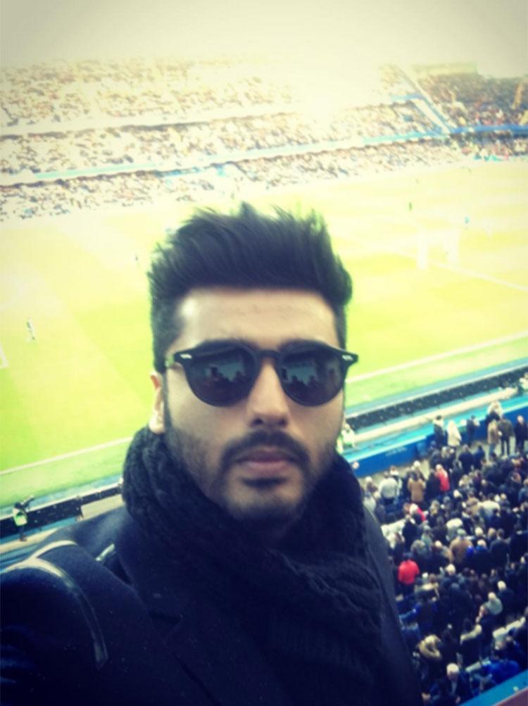 Arjun Kapoor's Instagram selfie from the Stamford Bridge