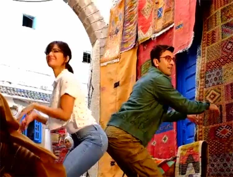 Ranbir Kapoor and Katrina Kaif on Jagga Jasoos sets