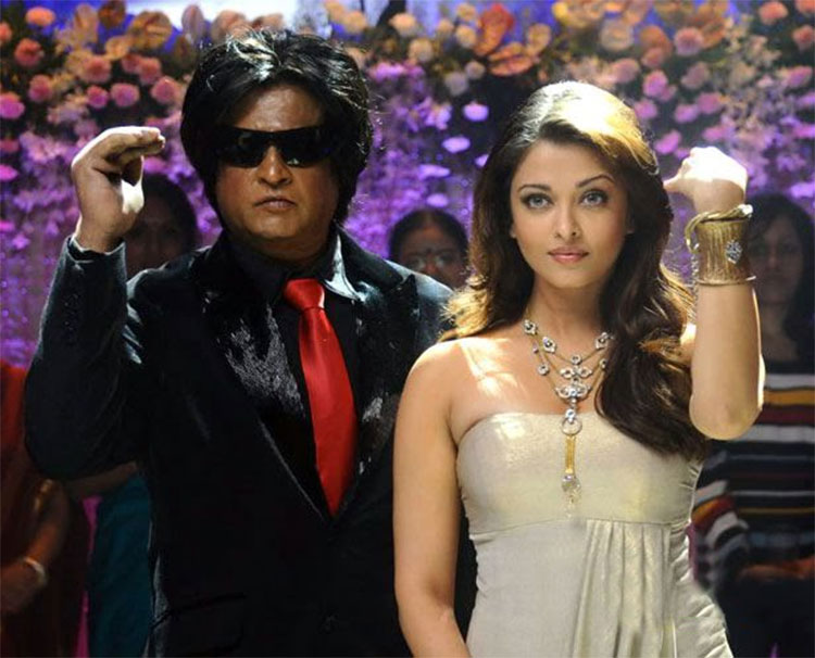 Rajinikanth with Aishwarya Rai in Enthiran