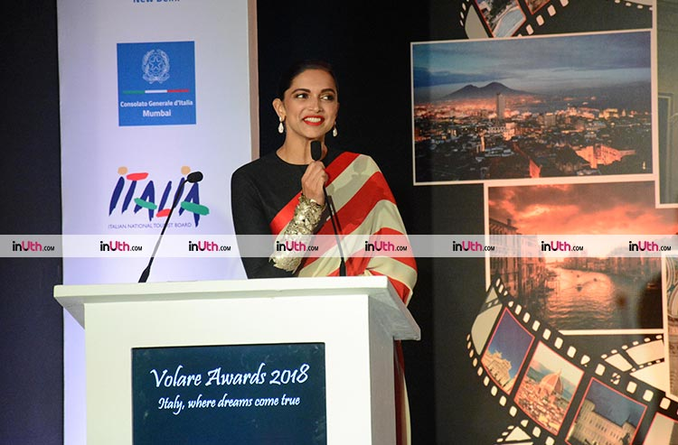 Deepika Padukone speaking at the Valore Awards 2018