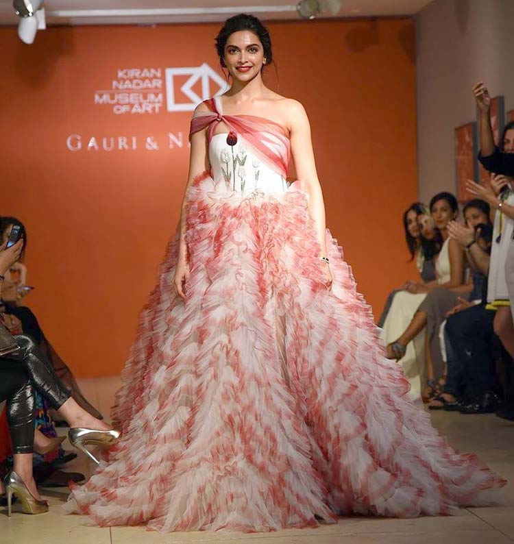 Deepika Padukone walking the ramp for Gauri & Nainika