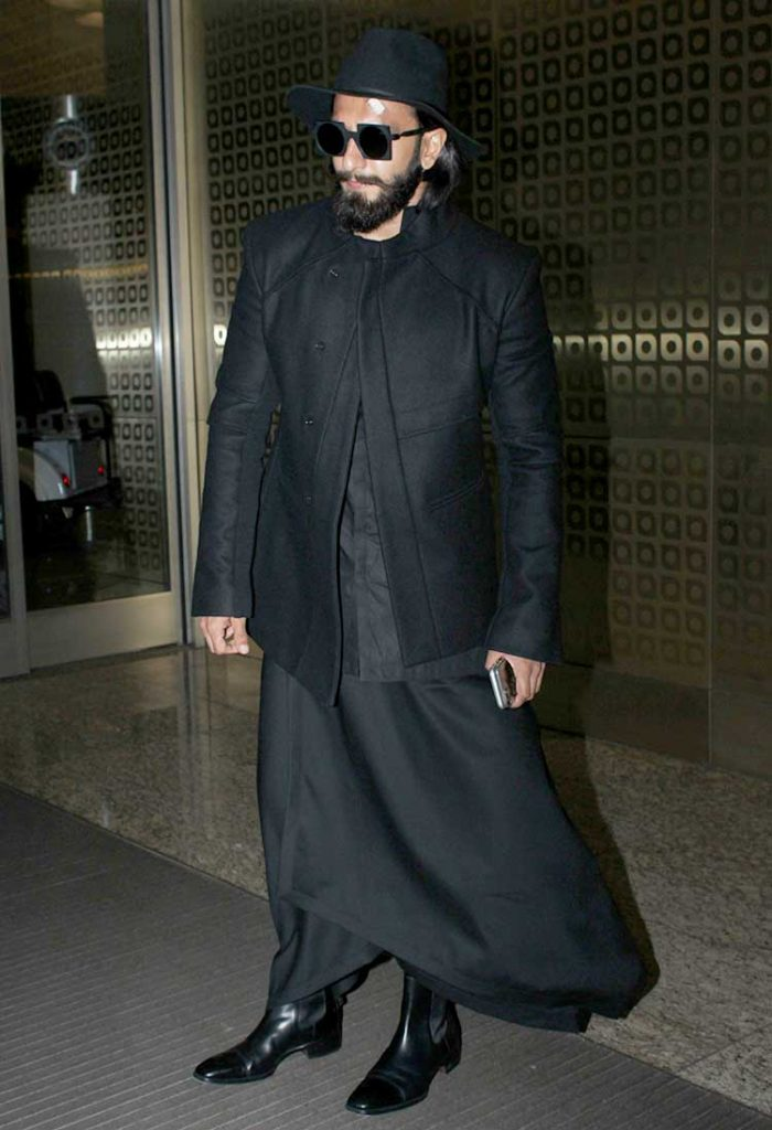 Ranveer Singh spotted at airport in black man skirt