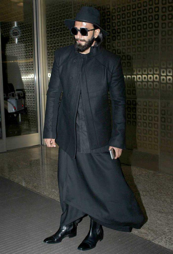 Ranveer Singh spotted at airport in black man skirt