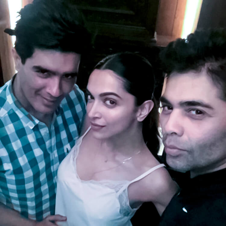 Deepika Padukone posing with Karan Johar and Manish Malhotra in this personal photo