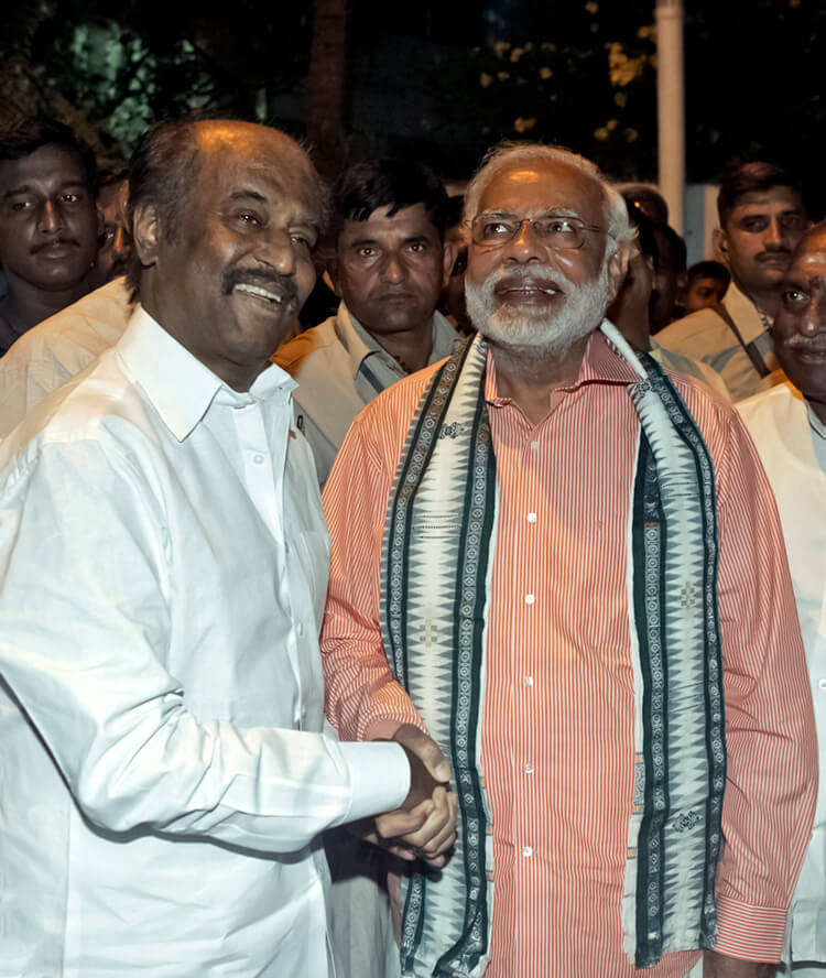 Narendra Modi meets Rajinikanth after attending an event in Chennai