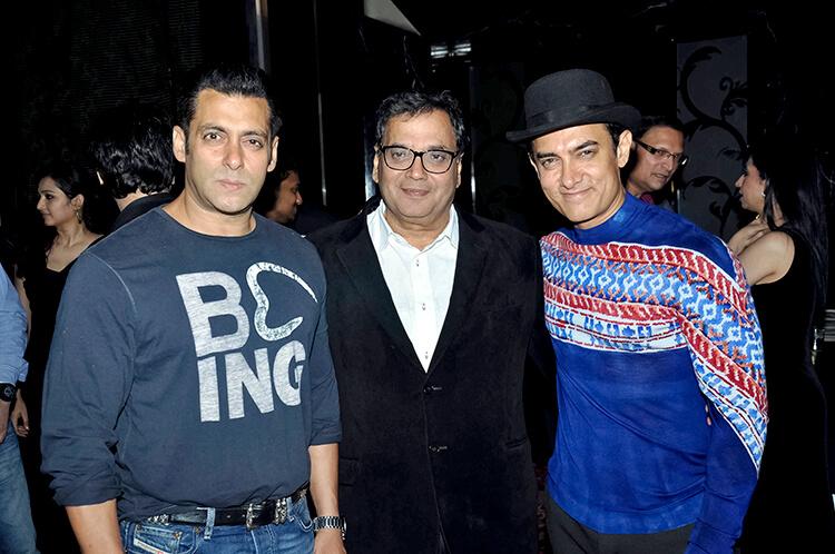 Salman Khan and Aamir Khan with Subhash Ghai at his birthday party