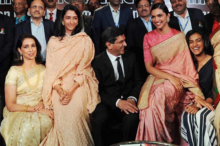 Deepika Padukone and family clicked in a candid frame at an event
