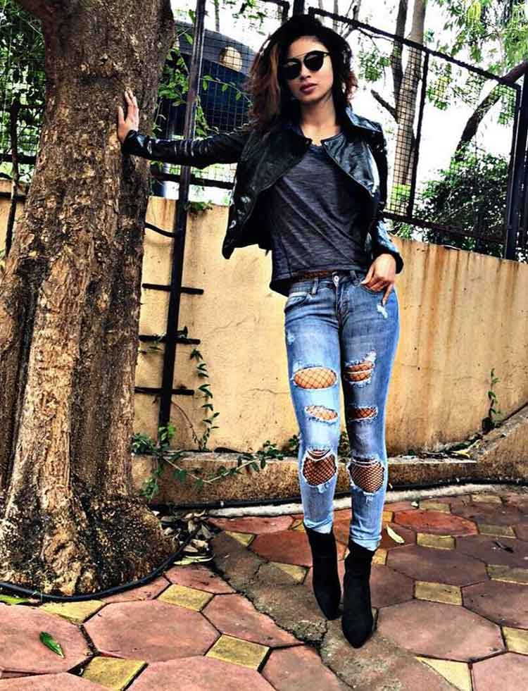 Mouni Roy's hot biker chic look