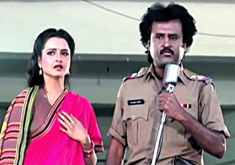 Rajinikanth with Rekha in Phool Bane Angaray