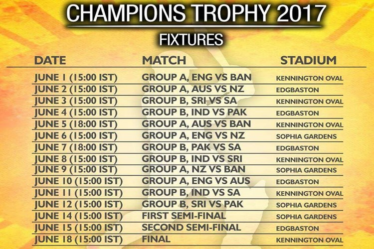 Champions Trophy Schedule, Venues, Timings, Squads