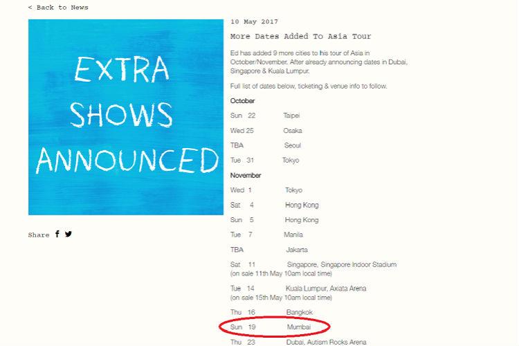 Ed Sheeran Website Asia Tour Screenshot