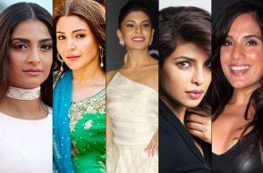 (L-R) Sonam Kapoor, Anushka Sharma, Jacqueline Fernandez, Priyanka Chopra, Richa Chadha.